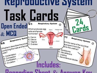 Reproductive System Task Cards (Human Body Systems Task Cards)