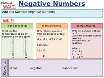 KS3/KS4 Maths: Negative Numbers