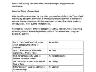 Connectives for English KS2/KS3 and KS4 ESL Learners / PASS THE PARCEL UNIQUE ACTIVITY