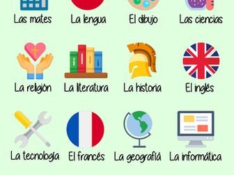 Poster - Spanish vocab - Las asignaturas (subjects)