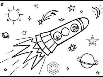 Rocket Colouring Sheet