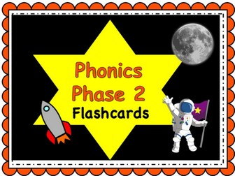 Phonics Powerpoint, Phase 2 flashcards: Space Themed