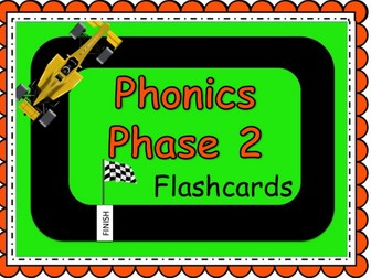 Phonics Powerpoint, Phase 2 flashcards: Racing car themed