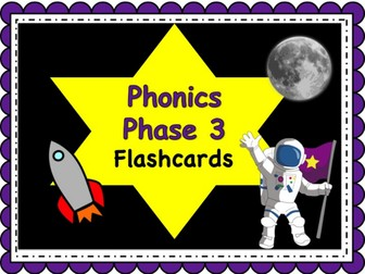 Phonics Powerpoint, Phase 3 flashcards: Space Themed