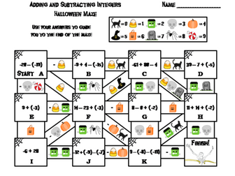 Adding and Subtracting Integers Game: Halloween Math Maze