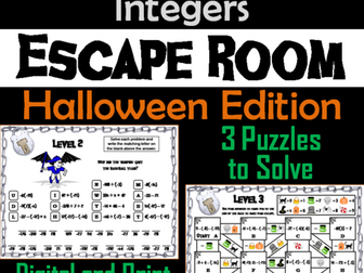 Operations with Integers Game: Escape Room Halloween Math