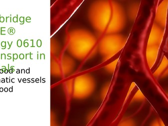 Cambridge IGCSE® Biology 0610 9 Transport in animals, 9.3 Blood and lymphatic vessels,9.4 Blood