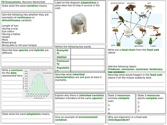 Exploring Science 7D Revision Worksheet- Ecosystems