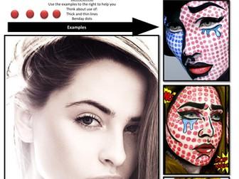 Lichtenstein inspired Face Paint