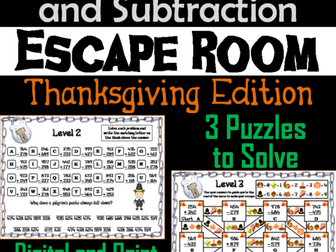 Triple Digit Addition and Subtraction Game: Thanksgiving Escape Room Math