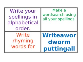 English Spelling Activities for any spelling list