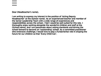 Deputy Headteacher Cover Letter for job application