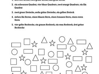 Farben und Formen (Colors and Shapes in German) Worksheet