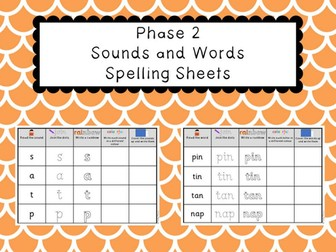 Phonics Phase 2 - Sounds and Words Spelling Sheets