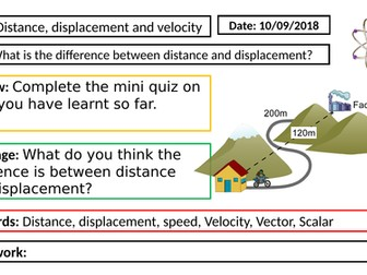 AQA GCSE Physics New Specification - P5 Distance, displacement, speed and velocity