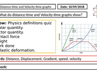 AQA GCSE Physics New Specification - P5 Distance-time and velocity-time graphs