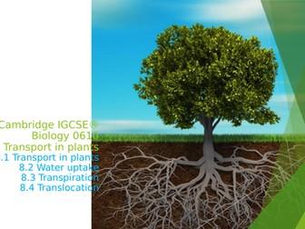 Cambridge IGCSE® Biology 0610, 8 Transport in plants
