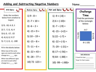 Adding and Subtracting Negative Numbers Differentiated Worksheet