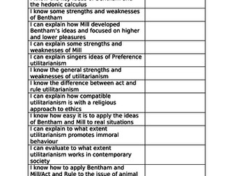Utilitarianism revision booklet Eduqas/Wejec A Level Religious Studies/Ethics
