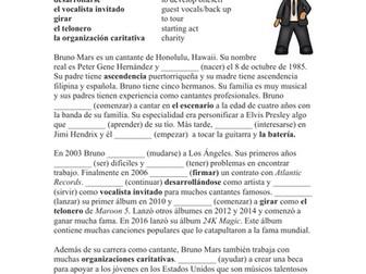 Bruno Mars Biography + Worksheet on Preterite / Pretérito: Biografía