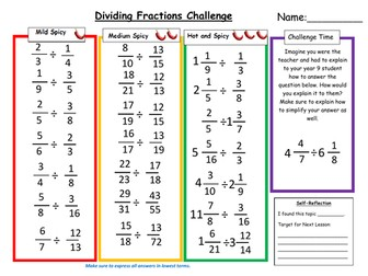Dividing Fractions Differentiated Worksheet