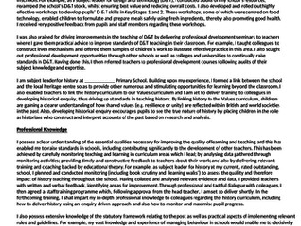 Exemplar supporting statement for leadership job application