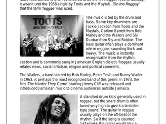 KS3 Music Cover Resources - Reggae and Soul Music x6