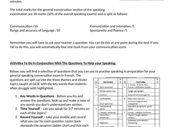 AQA French GCSE Sample Speaking Questions for General Conversation