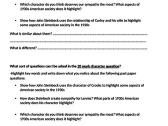 Of Mice And Men Wjec  Mark Character Essays Revision By Rhill  Of Mice And Men Wjec Curley  Mark Character Question   High School Personal Statement Sample Essays also Essay Paper Writing  High School Application Essay Samples