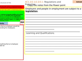 Responsibilities and legislation AC1 WJEC Hospitality and catering