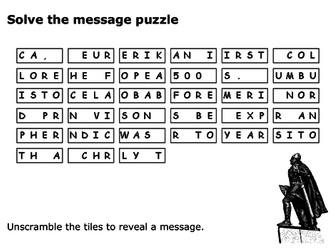 Solve the message puzzle about Leif Erikson