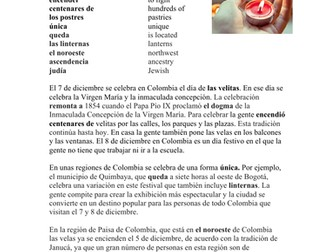 El Día de las Velitas: Cultura y Lectura - Colombian Celebration on December 7