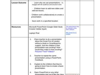 Detailed Year 2/ 3 Microsoft Presentation unit of work