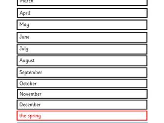 los doce meses vocab sticks + seasons