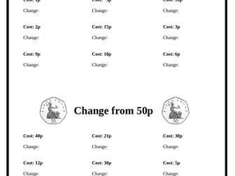 Money - Calculate Change (3-page booklet)