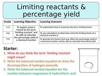 NEW AQA GCSE Trilogy (2016) Chemistry - Limiting reactants & percentage yield