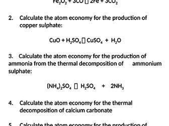 NEW AQA Trilogy GCSE (2016) Chemistry - Atom Economy HT