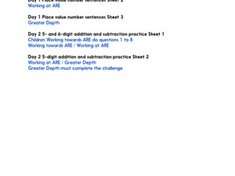 Practice Worksheets: Place value in 6-digit numbers (Year 6 Place Value, Addition and Subtraction)