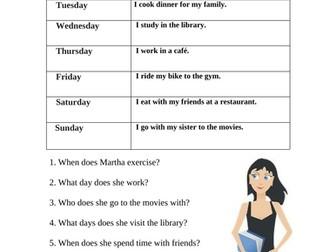 My Week Worksheet and Partner Activity: Days of the week / Hobbies (ESL/EFL)