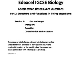 9-1 Edexcel IGCSE Biology specification based exam