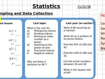Statistics - Sampling and Data Collection