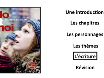 No et Moi- Book Study- Writing style/ l'écriture- A Level French
