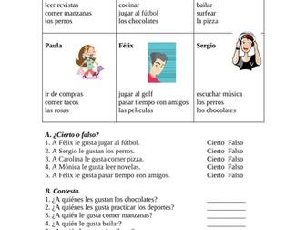 Gustar Spanish Partner Activity (SUB PLAN)