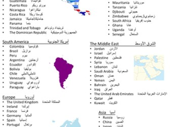 Countries and Nationalities (البلاد والجنسيات) Reference Sheet