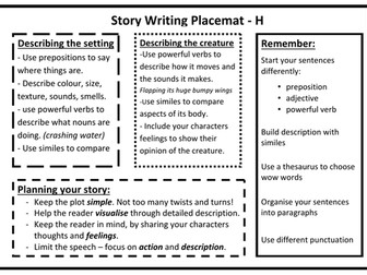 Story Writing Placemat (3 differentiated placemats)