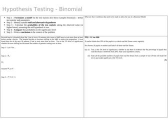 Binomial Hypothesis Tests