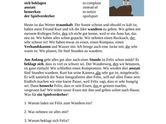 Relative Pronouns German Reading: Wir Gehen Wandern (Relativpronomen)
