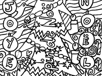 French Doodle Christmas Colouring