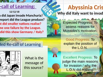 League of Nations: Causes of the Abyssinian Crisis 1935.