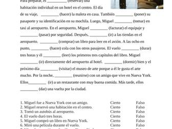 Un viaje a Nueva York: Preterite Worksheet with Travel Vocabulary (viaje, avión)